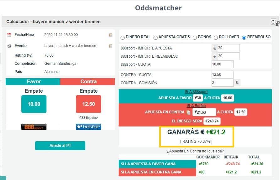 Matched betting con bono de Bienvenida